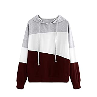 SweatyRocks Women's Color Block Lightweight Long Sleeve Pullover Hoodie Grey white burgundy Small