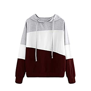 SweatyRocks Women's Color Block Lightweight Long Sleeve Pullover Hoodie