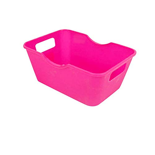 Yiwanjia^∀^ Plastic Portable Storage Box Office Organizer Basket Stackable Storage Bin Container Home Office Desk and Drawer Organizer Box (Hot Pink ^∀^)