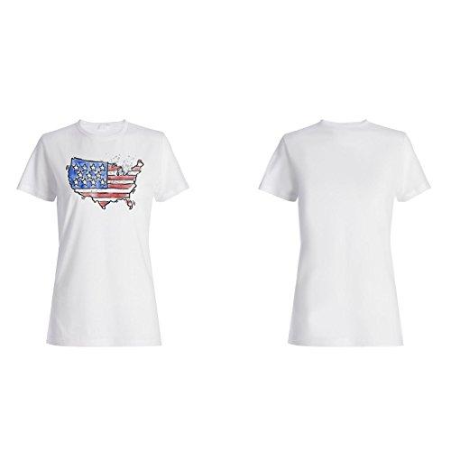 Neue Amerikanische Hand Gezeichnet Aquarell Damen T-shirt h425f