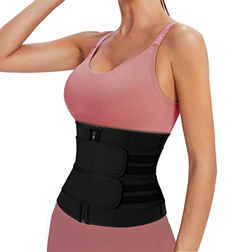 Waist Trimmer for Women and Mens Waist Trainer Sweat Belt Workout Sports Girdle Weight Loss Corset Zipper Stomach Band (XXX-Large, Black)