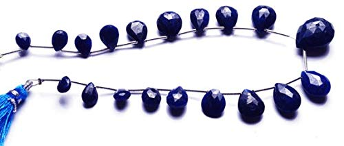 GemAbyss Beads Gemstone 1 Strand Natural 8 Inches Natural,Super Rare Blue Sapphire Faceted Pear Shape Beads Briolettes 6 to 17 MM - Faceted Sapphire Briolette Bead Blue