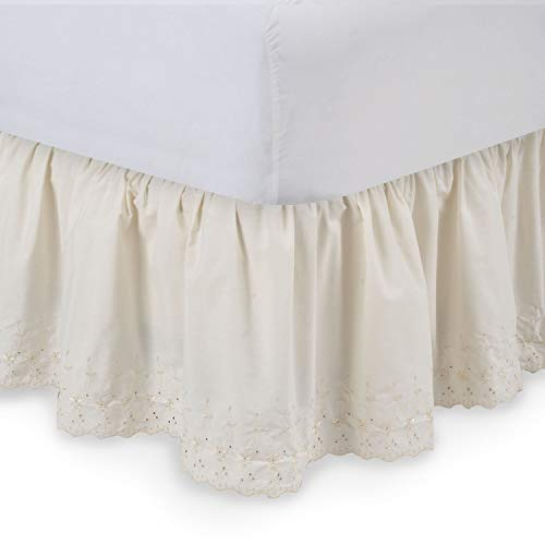 - Shop Bedding Harmony Lane Eyelet Ruffled Bed Skirt - 21'' Drop, Queen, White Dust Ruffle with Platform (Available in