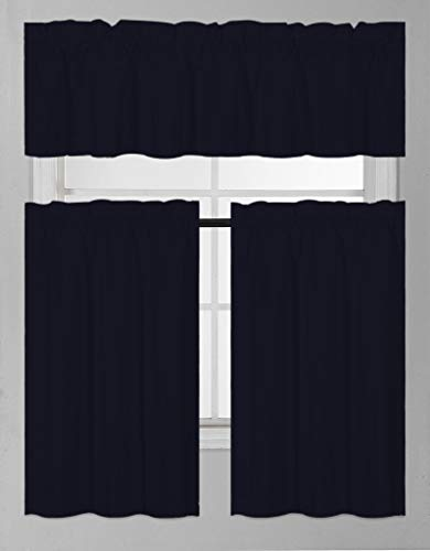 Eagle Linen 3 PC Ruffle Window Tiers and Valance Set for Bathroom Kitchen, 3