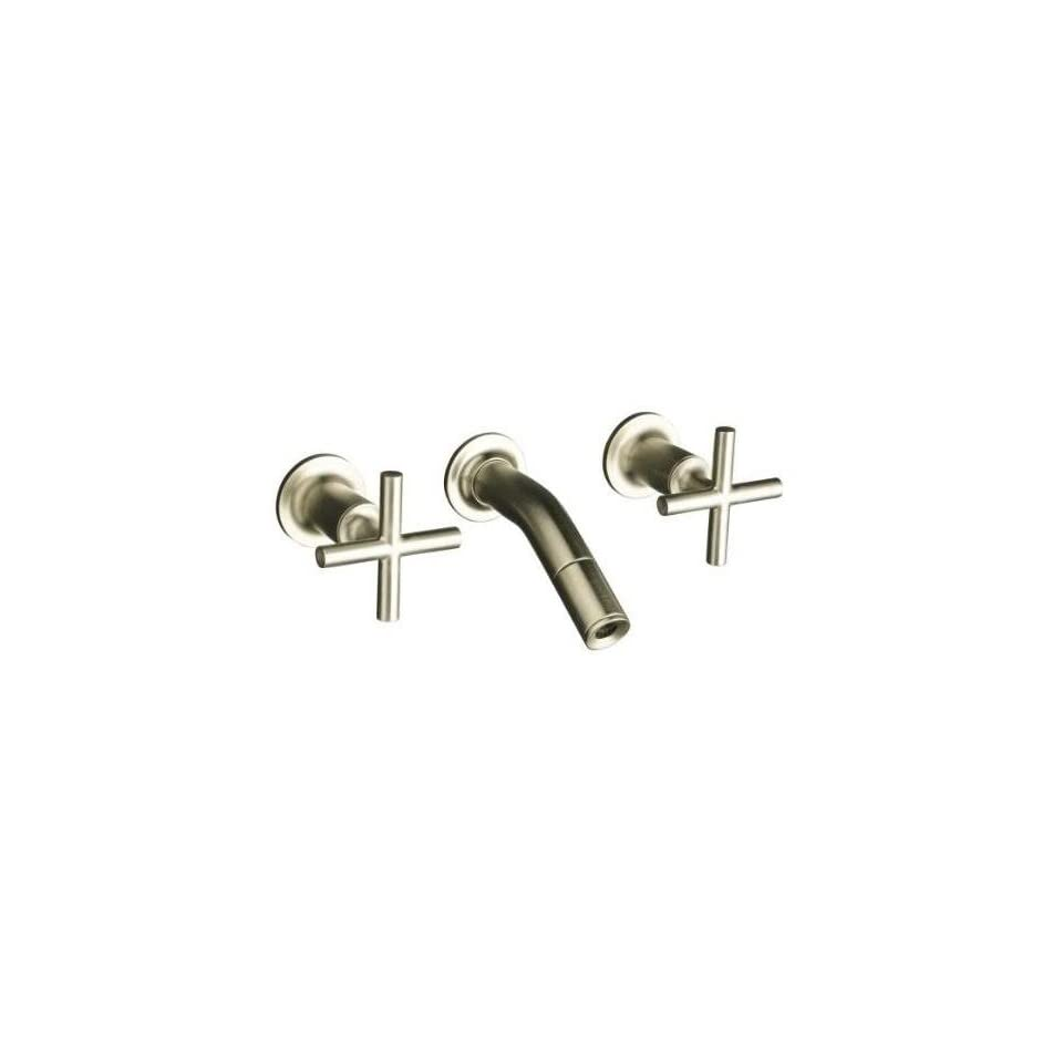 Kohler Purist Brushed Nickel Wall Mount Sink Faucet w/Cylinder Cross Handles + 5 5/16 Spout