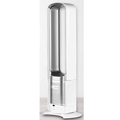 JunbosiTower Fan Bladeless Fan, Desktop Air Cooler with Remote Control Low Noise Safety Fan,Silver,73.5X23.5X9cm