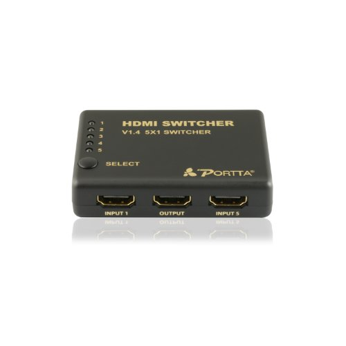 Switcher Video Mechanical (Portta HDMI Switch/Switcher v1.4 5 Port 5x1 with IR Remote support Full 3D 4k x 2k with Power adapter)