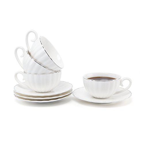 Mucihom 7.5oz Tea Cup with Saucer Sets, British Royal Style White Porcelain Coffee/Cappuccino/Latte Cup with Saucer Silver Trim Pack of 4