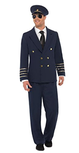 Smiffy's Men's Pilot Costume, Jacket, pants and Hat, Icons and Idols, Serious Fun, Size L, (Pilot Jacket Costume)