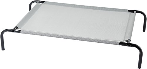 AmazonBasics Medium Elevated Cooling Pet Dog Cot Bed - 43 x 26 x 7.5 Inches, Grey