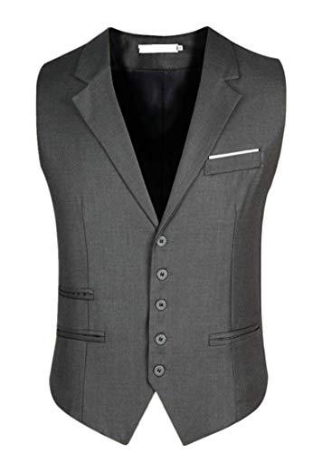 Gilet Jsyau Pulsante Maglia Su Vestiti Della Colore Puro Collare Di Grigio Vestito Giù Business Mens Slim Fit Misura 7qrwn7gB