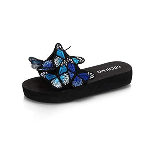 MIOKE Summer Flat Slide Sandals for Womens Butterfly Platform Low Heel Comfy Nonslip Casual Beach Sandals Blue