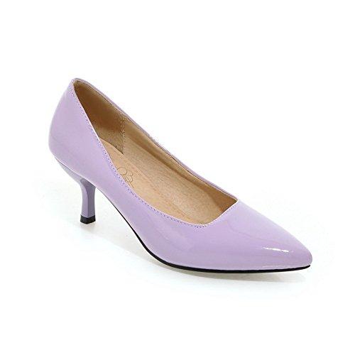 Balamasa Dames Puntig Toelopende Laag Uitgesneden Bovendeel Laklederen Pumps-schoenen Paars