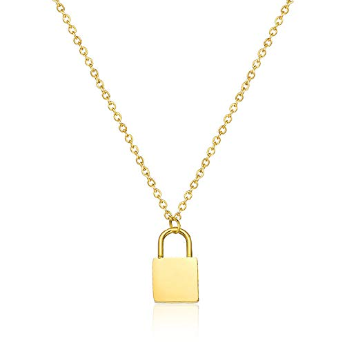 YOOE Cute Style Gold and Silver Lock Necklace, Punk Metal Alloy Lock Y Pendant Necklace Geometric Clavicle Choker Necklace Jewelry Women Gift (Gold) ()