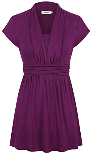 BEPEI Tunics for Women,Vneck Boho Bohemian Flowy Top Gorgeous Ruffle Front Scallop Blouse Country Vacation Beach Evening Western Wear Stretch Material Shirt Chic Romantic Mini Dress Dark Purple XL
