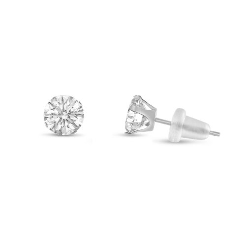 (Round 3mm 10k White Gold White CZ Stud Earrings, April Birthstone, (0.36 cttw))
