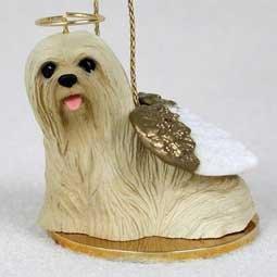 (Lhasa Apso Angel Dog Ornament - Tan)