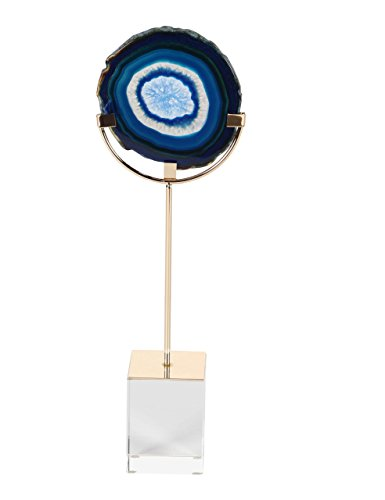 (Deco 79 35771 Iron and Glass Blue Agate Sculpture, 13