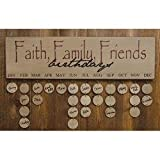 Heart of America Faith Family Friends Birthday Calendar - Burgundy