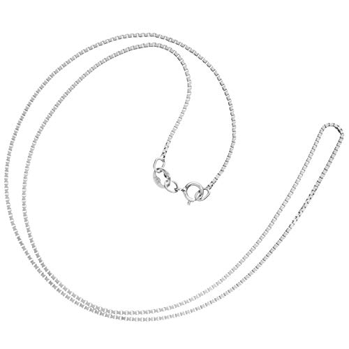 14K Solid White Gold Necklace | Box Link Chain | 16 Inch Length | 1.0mm Thick | With Gift Box Dress White Gold Necklace