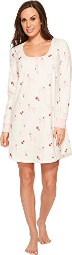 BedHead Women's Long Sleeve Stretch Knit Henley Night Shirt Strawberries Champagne X-Large