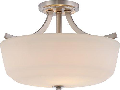 - Nuvo Lighting 60/5826 Laguna 2 Light 60W A19 max. Medium Base Semi-Flush Dome with White Glass, Brushed Nickel