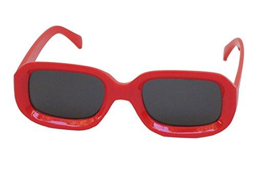 Retro TV Oversize Rectangle Fashion Sunglasses Red or White (Red)