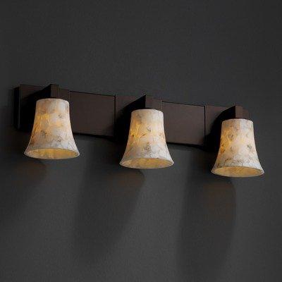 Nckl Modular Alabaster Rocks (Justice Design ALR-8923-15-NCKL Alabaster Rocks - Three Light Modular Bath Bar, Choose Finish: Brushed Nickel Finish, Choose Lamping Option: Standard Lamping)