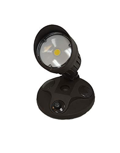 LED Outdoor Security Flood Light with Dusk to Dawn Photocell Sensor, 10W, Single Head, Brown Color, LED Security Light, Garage, Front, Back Yard, Porch 5700K