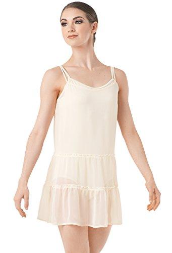 Crinkle Skirt Tier (Balera Slip Dress Girls Costume For Dance Ruffle Sheer With Spaghetti Straps Ivory Adult Large)