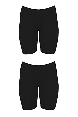 In Touch Womens Combed Cotton Basics 5 Inch Bike Short (Medium, 2 Pack Black/Black) by In Touch