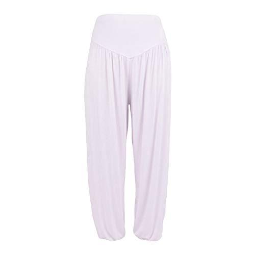Thenxin Super Soft Cotton Harem Yoga Pilates Pants Elastic Waist Fitness Loose Fit Harem Trouser(White,XL)