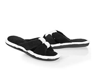 Women's Cabanas Microterry Center Keeper Slide Slippers, 9.5/10 Black/White