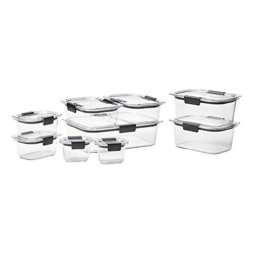 Rubbermaid Brilliance 18-Piece Stain and Odor Resistant 100% Leak-Proof, Crystal Clear Food Storage Container Set