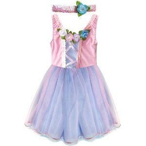[My Princess Academy Blue and Pink Classic Velvet Princess Dress, Large 7/8] (Make Poodle Skirt Costumes)