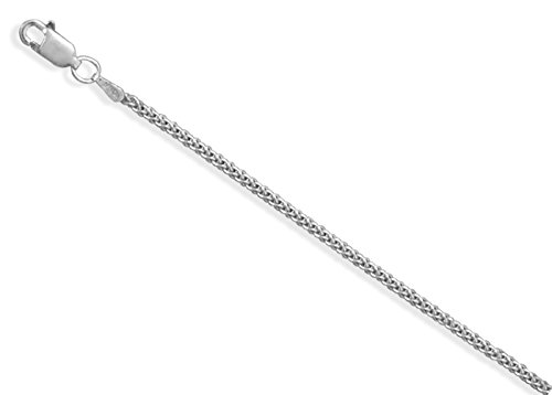 (Oxidized Sterling Silver 1.4mm Gage 1.4mm French Wheat Italian Chain Necklace, 22 inch)