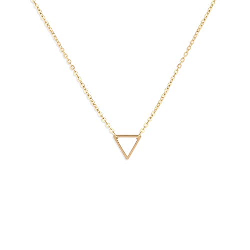 Fettero Tiny Gold Triangle Choker Necklace-Dainty 14K Gold Filled Minimalism Style Cute Pendant Necklace Personalized Delicate Friendship Jewelry Gift (Gold 14k Triangle Pendant)