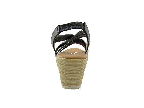 E0058 Oh Sandals My Negro Sandalo Nero Donna Comodo 3887 x70xqwr