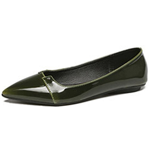 QZUnique Womens Pointy Toe Boat Ballet Shoes Faux Leather Slip On Low Flats Green