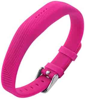 NICERIO Compatible with Fitbit Flex 2 Watch Band - Silicone Smart Watch Bracelet Strap Replacement Without Tracker - Rosy
