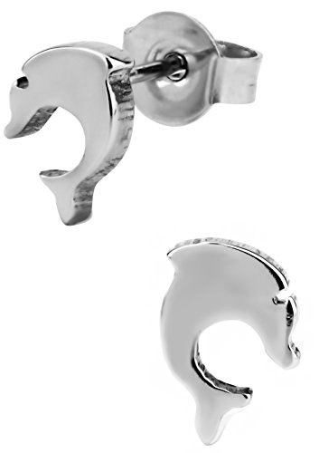 Stainless Steel Dolphin Stud Earrings for Kids ()