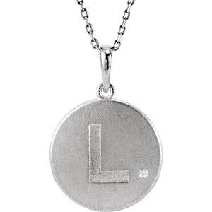 """Argent sterling diamant .005carat or lettre Initiale """"L Disque 45,7cm-Collier Femme"""