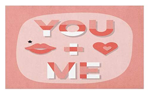 Lips Kiss Xoxo (Lunarable You and Me Doormat, Romantic Saying with Lips Hearts Kisses XOXO Celebration Theme, Decorative Polyester Floor Mat with Non-Skid Backing, 30 W X 18 L inches, Coral Pale Pink White)