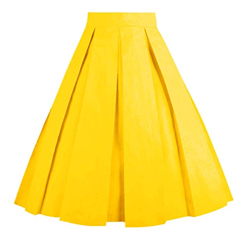OBBUE Dresstore Vintage Pleated Skirt Floral A-line Printed Midi Skirts with Pockets Golden-M