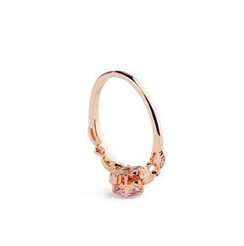 GOWE Square Shape 0.27CT Natural Pink Sapphire Gemstone Diamond Accents 18k Rose Gold 3