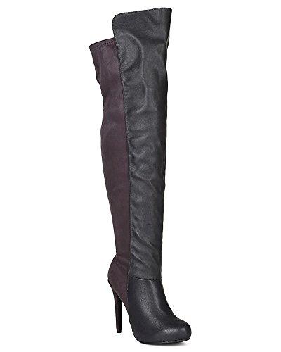 Breckelles BG97 Women Mix Media Round Toe Stiletto Thigh High Boot - Grey