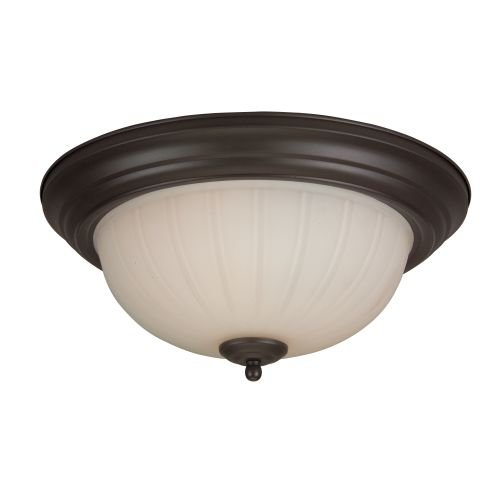 Craftmade Step (Craftmade X113-OB Bowl Flush Mount Light with Frosted Melon Glass Shades, Oiled Bronze Finish)