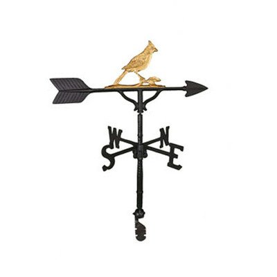 Weathervane Cardinal (Montague Metal Products 32-Inch Weathervane with Gold Cardinal Ornament)