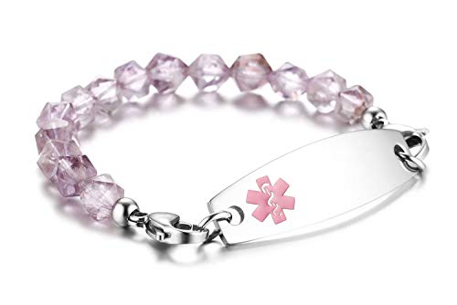 JF.JEWELRY Medical Alert ID Bracelet for Women with Light Purple Natural Crystal Stone Beads Custom Engraving