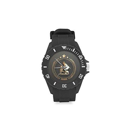 Reloj de pulsera con logotipo de patines de hielo grabado dorado, correa de goma, reloj de pulsera casual Anolog de cuarzo: Amazon.es: Relojes